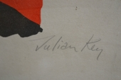 Julian Key in litho on paper, belgian mid XXth century